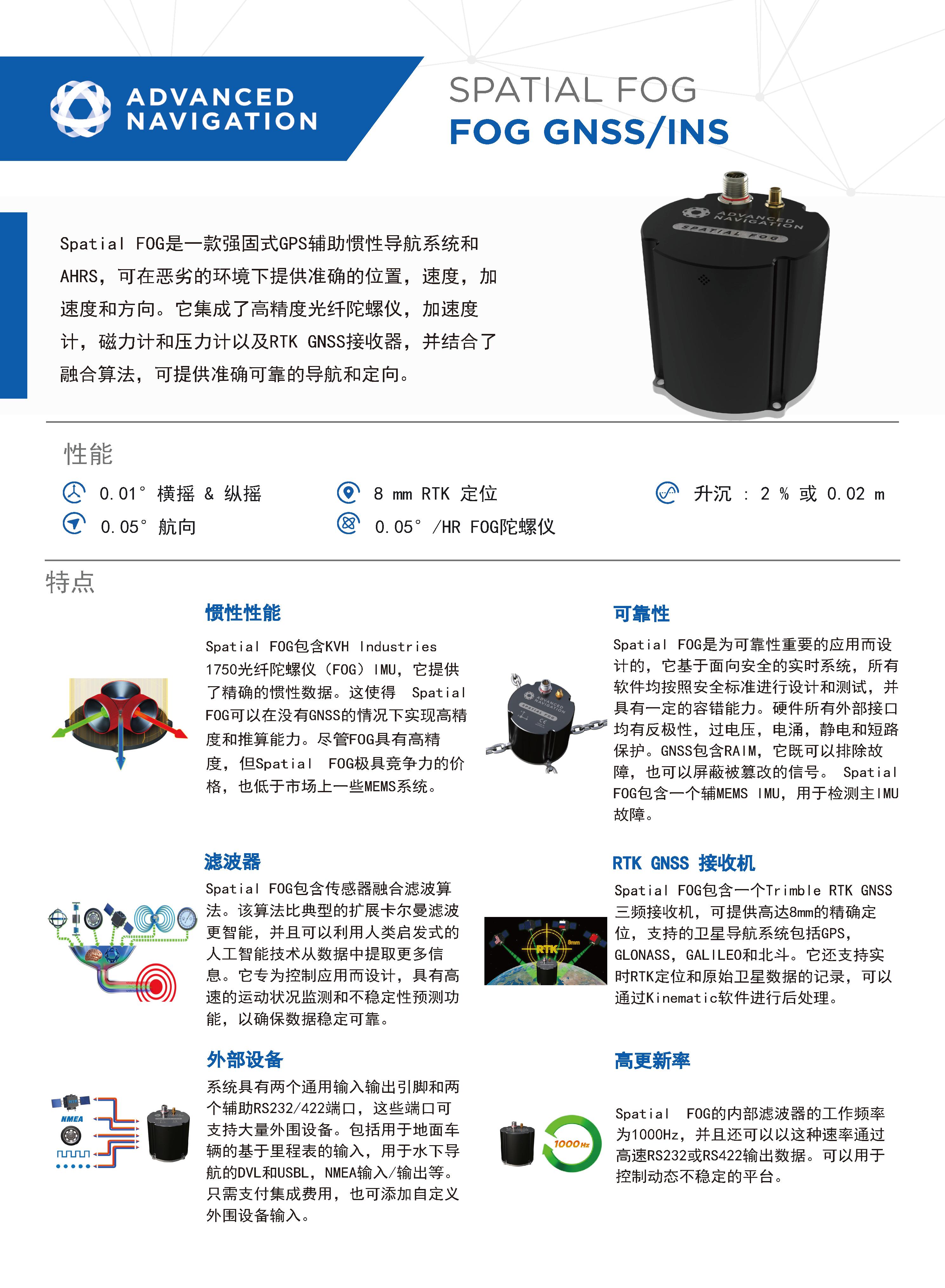 Spatial FOG GNSS/INS光纤惯性导航系统