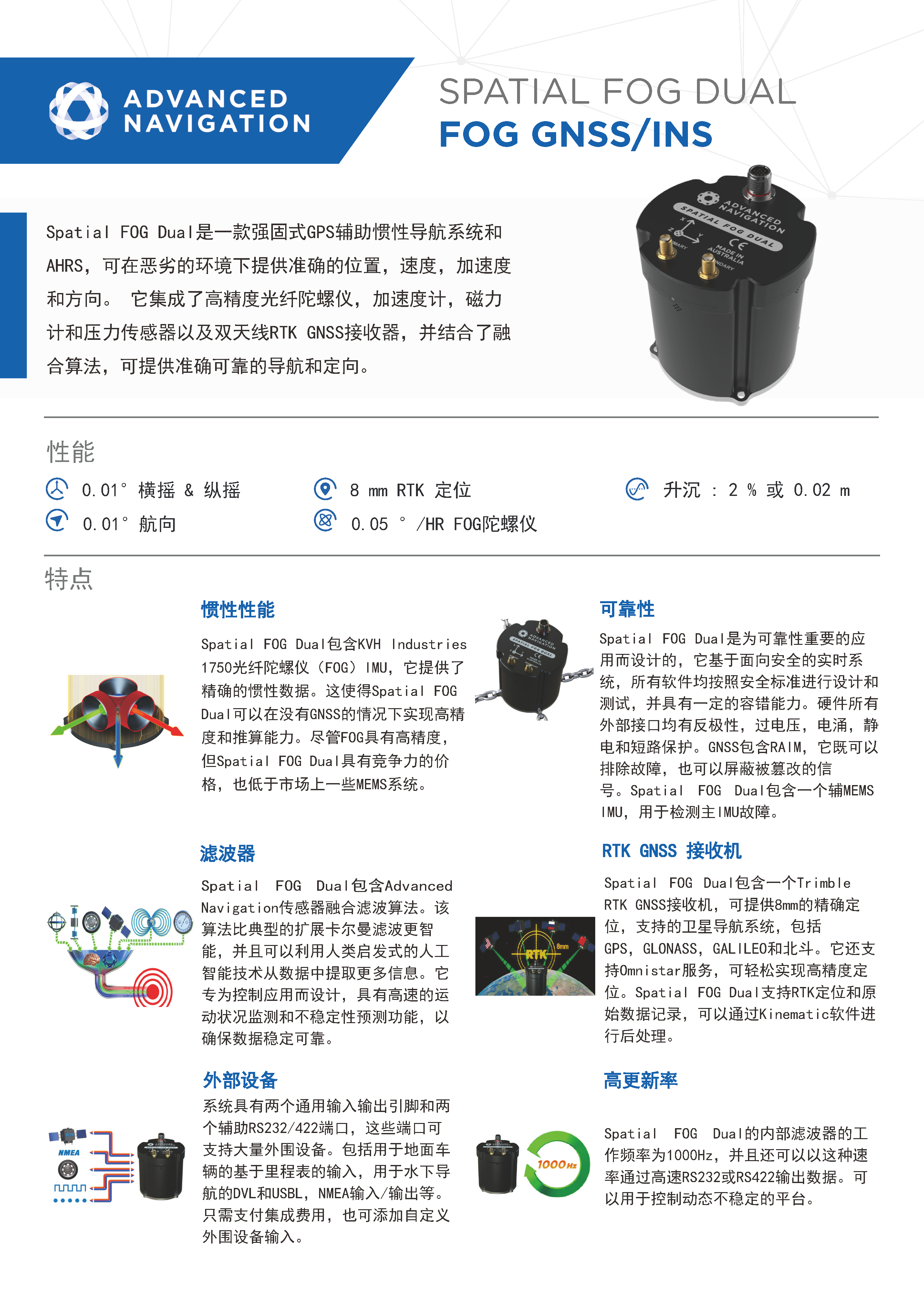 Spatial FOG Dual GNSS/INS惯性导航系统